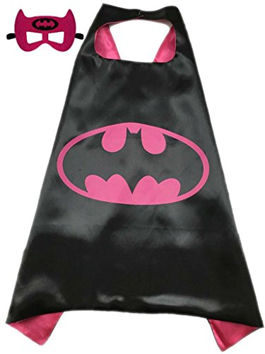 [Superhero or Princess CAPE Adult Teen Size, Mens Womens Halloween Costume Cloak (S (35 inches), Hot Pink & Black] (Halloween Costumes For Girl Teenagers)