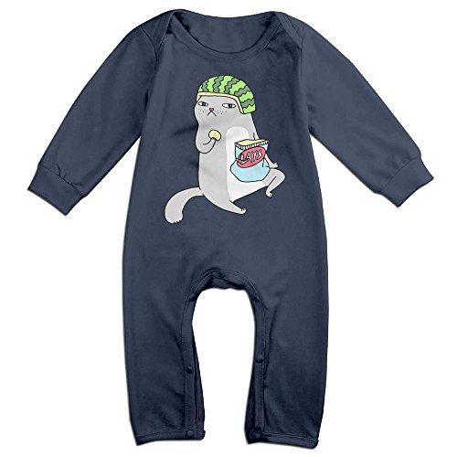 Kim Kardashian Cat Costume (Baby Infant Romper Melon Cat Long Sleeve Playsuit Outfits Navy 12 Months)