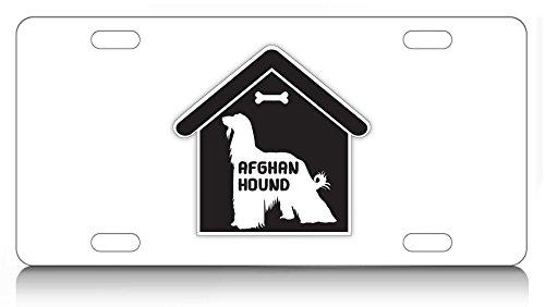 Makoroni - AFGHAN HOUND House Design, Aluminum License Plate, Auto SUV Truck Tag - Hound House