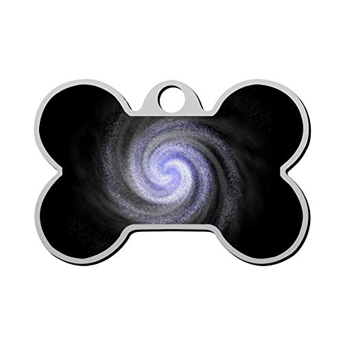 Qeksow Customizable Bone Shape ID Tags, Spiral Galaxy Personalized Double Sided Printed Pet Information Collar for Cat Dog