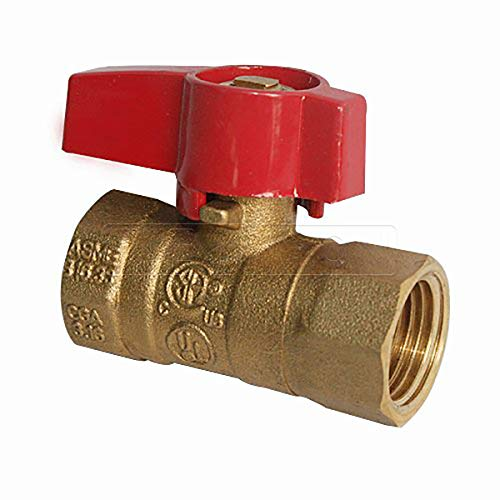 Flextron FTGV-12F12F Gas Ball Valve with 1/2 Inch FIP x 1/2 Inch FIP Fittings for Gas Connectors with Quarter-Turn Lever Handle, Brass Construction, Excellent Corrosion Resistance, CSA Approved