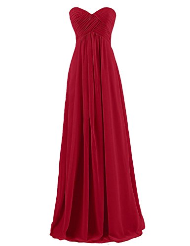 Sarahbridal Sweetheart Bridesmaid Dresses Chiffon Long Prom Evening Gown Pleat Cranbrerry US2