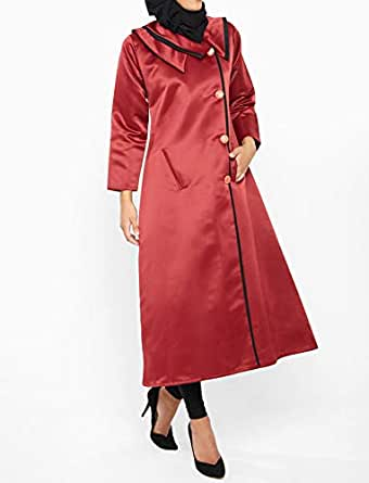 Nukhbaa Red Satin Cape For Women