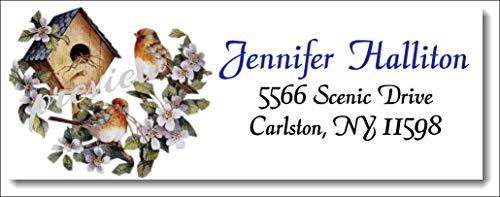 (tkniftylabel Birdhouse Flowers #5 Return Address Labels)