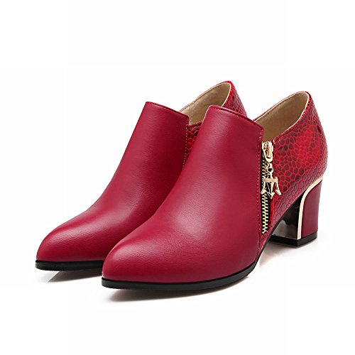 Show Shine Womens Fashion PU Leather Block-heel Ankle-high Boots Red O988n0C