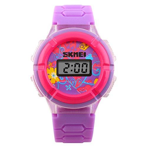 Child's Digital Watch Fashion Glaring LED Light Wrist Watch PU Strap, Purple