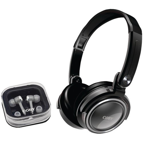 Coby CV215BLK Deep Bass Stereo Headphones and Earphones (Black)