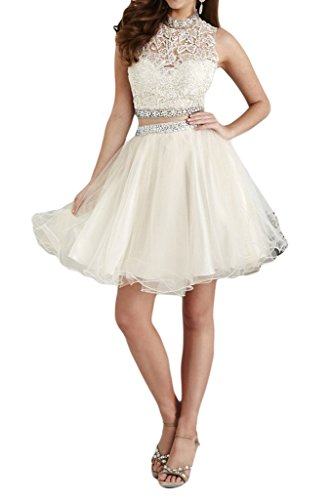 Charm Bridal 2 Piece Beaded Short Junior Girl Summer Homecoming Cocktail Dresses -10-White by Charm Bridal