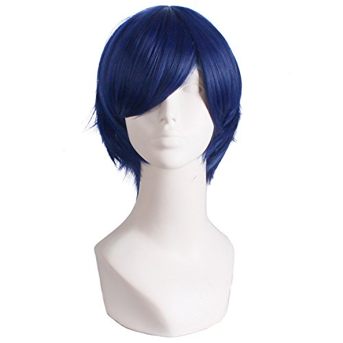 MapofBeauty Men's Short Straight Wig Cosplay Costume Wig (Midnight Blue) - Midnight Blue Costumes