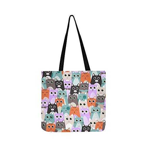 Seamless Pattern With Cute Cats For Kids Canvas Tote Handbag Shoulder Bag Crossbody Bags Purses For Men And Women Shopping Tote