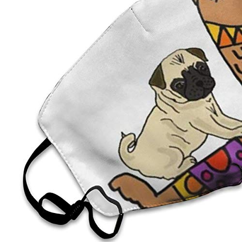 NOT Cute Pug Dog Riding On Llama PM2.5 Mask, Adjustable Warm Face Mask Unique Cover Filters Blocking Pollen Pollution Germs£¬Can Be Washed Reusable Pollen Masks Cotton Mouth Mask for Men Women