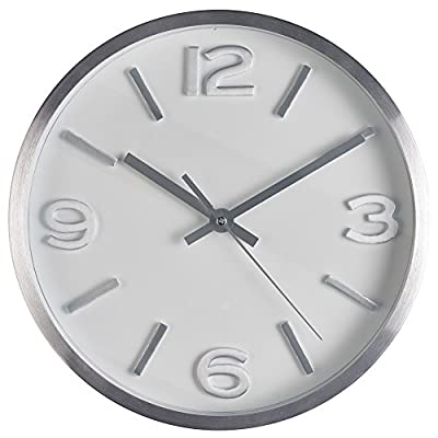 Wall Clock, 10 Inch Modern Silver Round Elegant Metal Wall Clock, Quality Quartz, Battery Operated Home Clock with 3D Numbers- Bernhard Products™