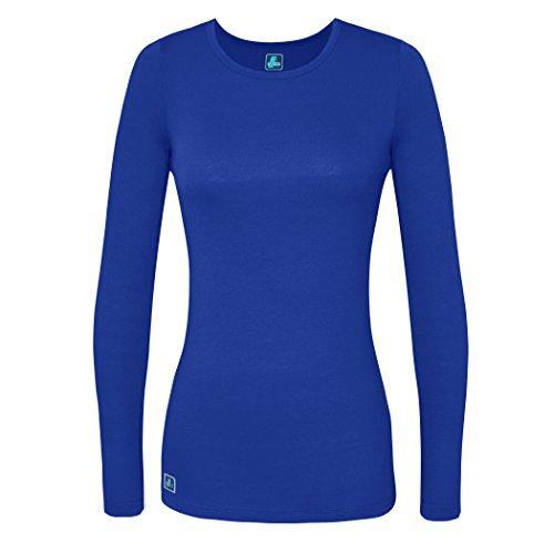 Adar Womens Comfort Long Sleeve T-Shirt Underscrub Tee - 2900 - Royal Blue - L