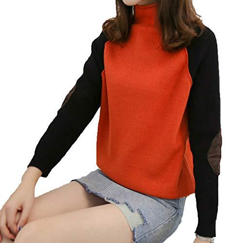 Xyujie Girocollo Block Maglione Con Collo Red A Manica Color Maniche Lunga Alto Lunghe Donna 4Z4F5qwr