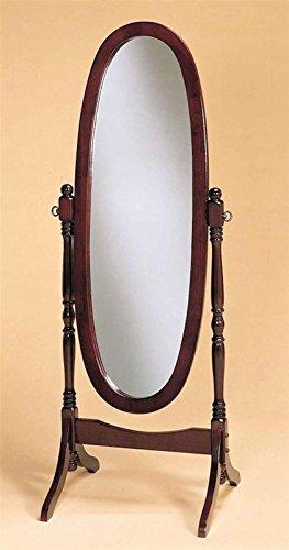 GTU Furniture Swivel Full Length Wood Cheval Floor Mirror, in White/ Black/ Cherry/ Oak Finish (CHERRY) ()