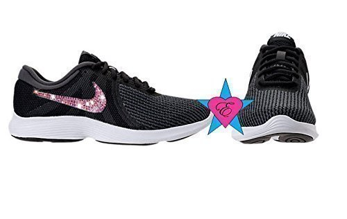 Women's AB Crystal Black Nike Revolution 4 Running Shoes by Eshays