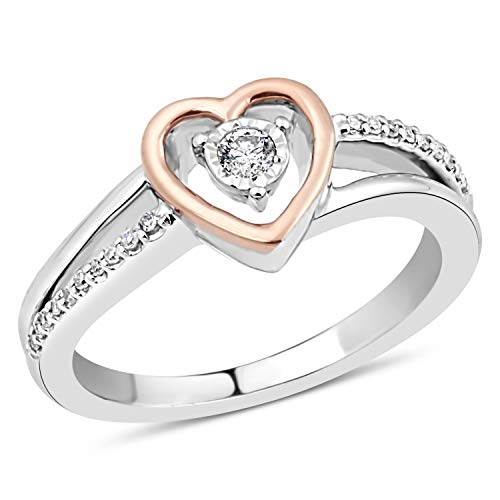 (Diamond Promise Ring in Sterling Silver with 10k Rose Gold Heart 1/10 cttw-Size 6)