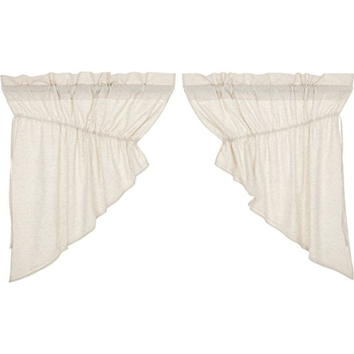 VHC Brands Farmhouse French Country Curtains Simple Life Flax Solid Prairie Swag Pair, Natural