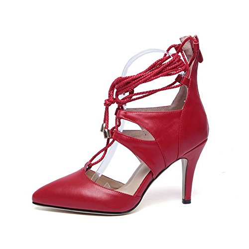 AmoonyFashion Leather Zipper Toe Pointed Sandals Womens Solid High Cow Red Heels r6CPrqw