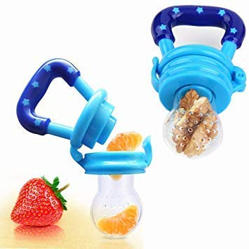 KeleCare 2 Pack Baby Mess Free Food Feeder Pacifier,Teething,Reusable, Fresh Fruit, Healthy Snacks Ages 2-12+ Months by Kelecare