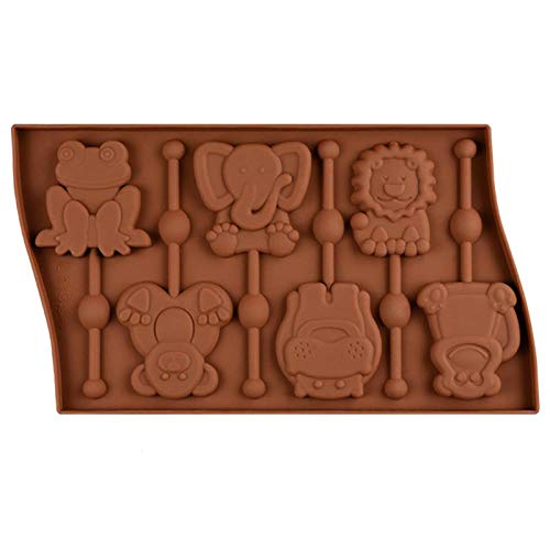 1 piece ROSENICE 6 Cavity Silicone Animal Shaped Lollipop Mold Frog Monkey Chocolate Moulds Candy Cake Baking Tools (Random Color)