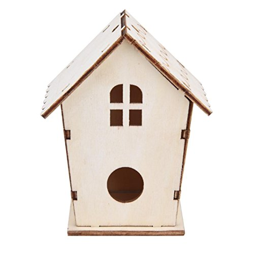 (Yeefant 1Pcs Creative Assemble and Disassemble DIY Nest Bird House Wooden Outdoor Box,0.36x0.30 Ft)