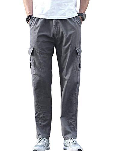 Lunghi Colore Solido Allentati Completo Uomo Da Gamba Primavera Pantaloni Di Carico Larghi Dunkelgrau Larga Casual Autunno qwIBEX4x