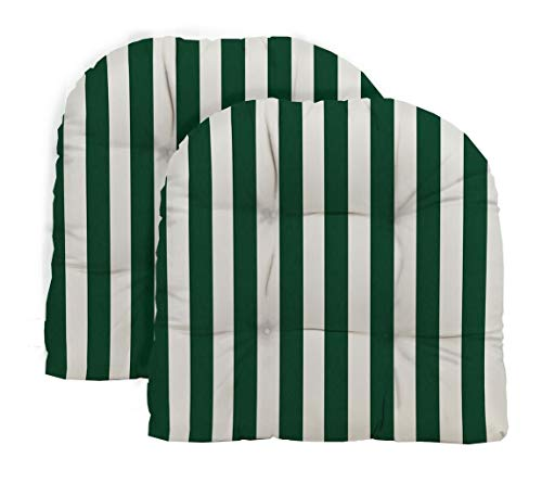 (RSH Decor - Indoor/Outdoor 2- Piece Tufted Wicker Cushion Set Made with Hunter Green & White Cabana Stripe Fabric)