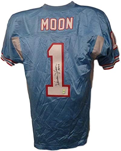 Houston Oilers Ness (Warren Moon Autographed Signed Houston Oilers Mitchell 7 Ness Size 48 Blue Jersey - Certified Authentic)
