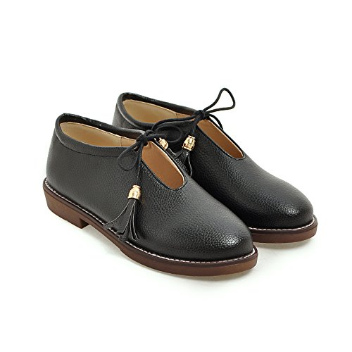 Susanny Round Toe Shoes Women's Work Comfort Leather Lace-Up Loafer Flats Black Oxfords Driving Shoes 11 B (M) US