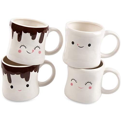 Price comparison product image Marshmallow Mugs - Hot Chocolate,  Cocoa and Coffee Ceramic Cups (Set of 4,  11 oz)