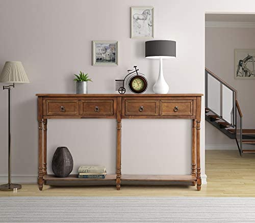 Console Table Antique Console Entryway Hallway Table Sofa Table with Drawers and Bottom Shelf Brown