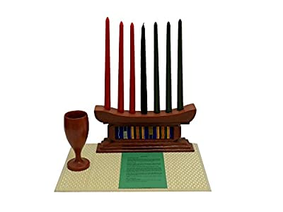 African Heritage Collection Kwanzaa Kente Classic Candleholder & Celebration Set - Made in Ghana