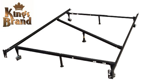 7-Leg Heavy Duty Adjustable Metal Full Size Bed Frame with Center Support Rug Rollers and Locking Wheels