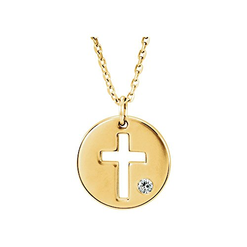 Jewels By Lux 14K Yellow Gold .03 CTW Diamond Pierced Cross Disc Necklace