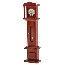 MagiDeal 1/12 Dollhouse Miniature Room Furniture Vintage Brown Grandfather Clock