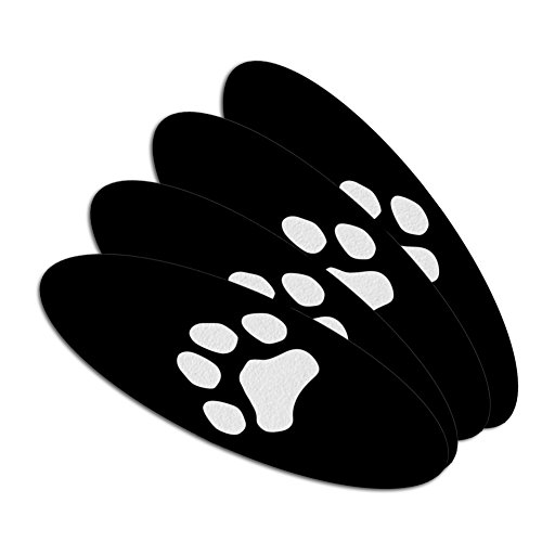 Paw Print Dog Cat White on Black Double-Sided Oval Nail File
