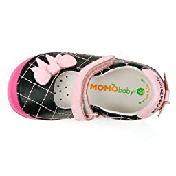 Momo Baby Girls First Walker/Toddler Quilted Bow Black Mary Jane Leather Shoes - 9 M US Toddler