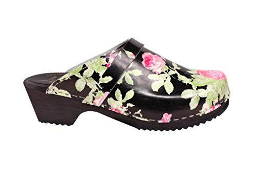 Rose cuir Stockholm Black Lotta Suédois femme From Sabot en wq67cza0x