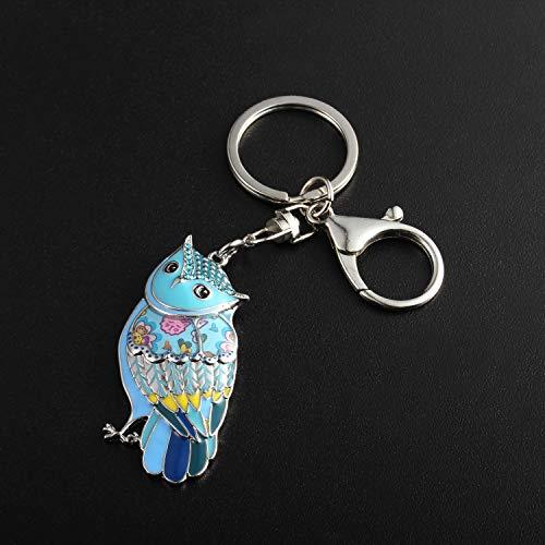 Luckeyui Unique Owl Gift Keychains for Women Blue Enamel Cute Animal Keyring by Luckeyui (Image #2)