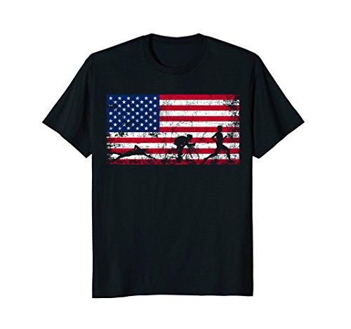 Mens American Flag Triathlon T-shirt - Triathlon Team Gift XL - Usa Triathlon