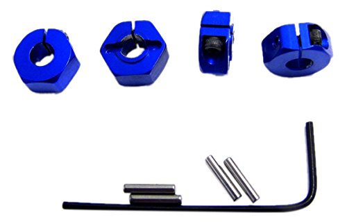 Hot Racing SLF1006 Blue Aluminum Locking 12mm Wheel Hex Kit, Blue (12mm Blue Wheel)