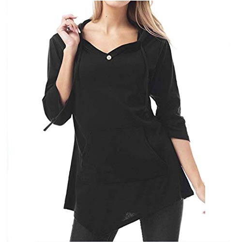 Orangeskycn Autumn Women's V-Neck Drawstring Tops Fashion Pure-Color Pocket T-Shirt Tunic Blouse Black (Black Belt Angels)