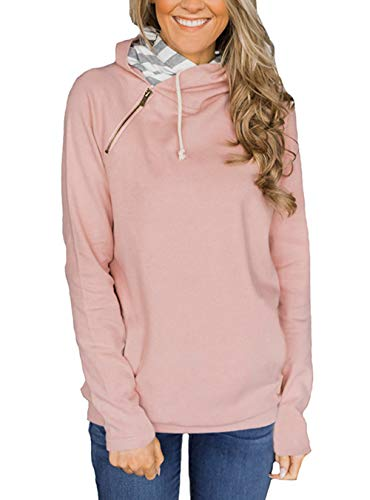 Barlver Women's Casual Hoodies Long Sleeve Sweatshirts Cowl Neck Drawstring Hooded Pullover Top with Pockets (X-Large, Pink 01) - Hooded Double Pockets