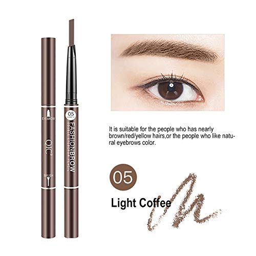 3D Waterproof Eyebrow Pencil, Waterproof Sweat-proof Smudge-proof Long Lasting Eyebrow Pencil Brow with Brush for Girls 2PACK (Light coffee)
