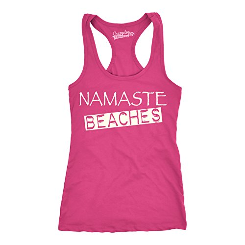 Crazy Dog TShirts - Womens Namaste Beaches Racer Back Workout Fitness Sleeveless Tops Funny Tank Top - Camiseta Para Mujer