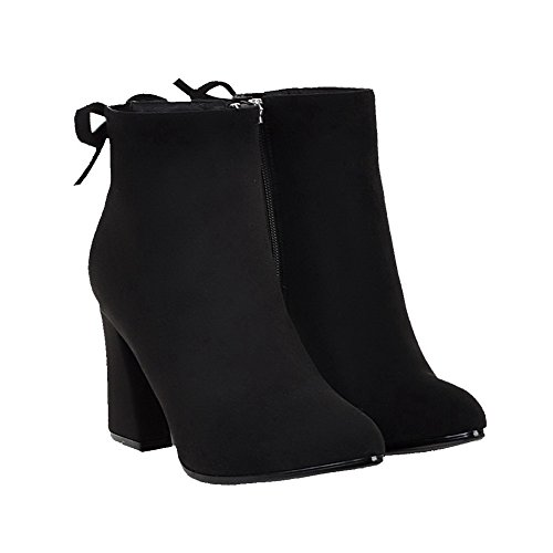 Allhqfashion Pointed Toe Heels Suede Solid Women's High Zipper Imitated Boots Closed Black rwIqrp