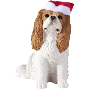 Sandicast Blenheim Cavalier King Charles Spaniel with Santa Hat Christmas Ornament
