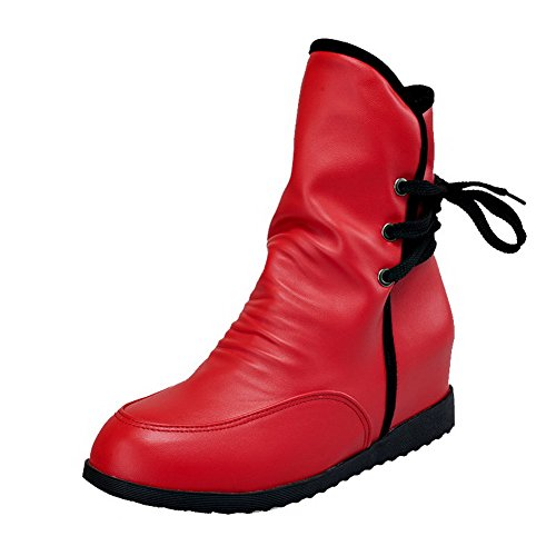 AgooLar Women's Pull-On Kitten-Heels PU Assorted Colors Round-Toe Boots Red 4xwCq8rwsf