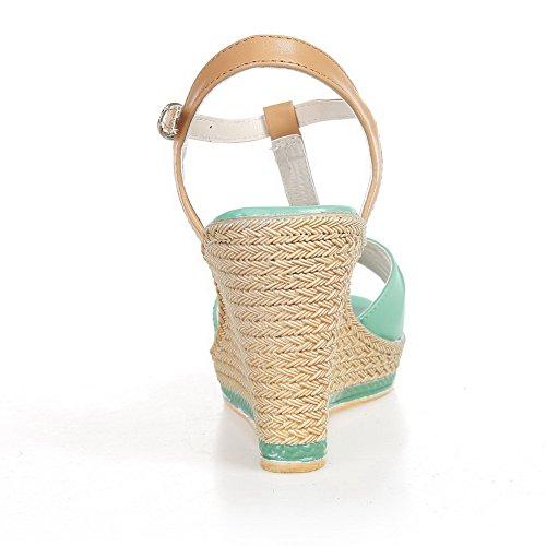 Verde Material Abierta Suave vestir AalarDom Hebilla Sandalias Mujer Puntera Alto de Tacón qxPX1CT4w